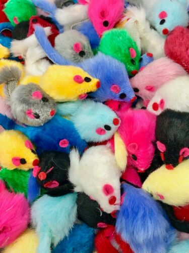 Cat Toy - Rattling Fuzzy Mice w Tail - 5,10,15, 20, 25, 30, 40, 50, 60, 100 ct