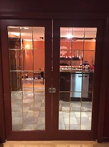 French Pocket Doors w/ bevelled glass and bass inserts London Ontario image 2