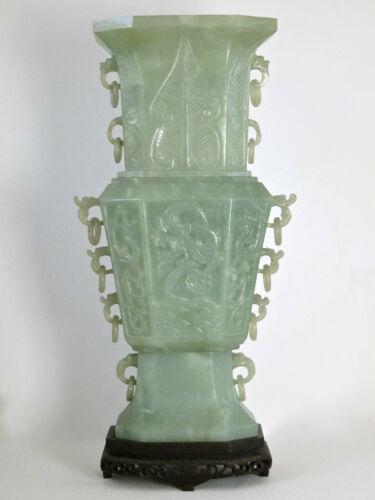 """Huge 23"""" Chinese Green Serpentine Hardstone Gu Shape Vase c.1900"""