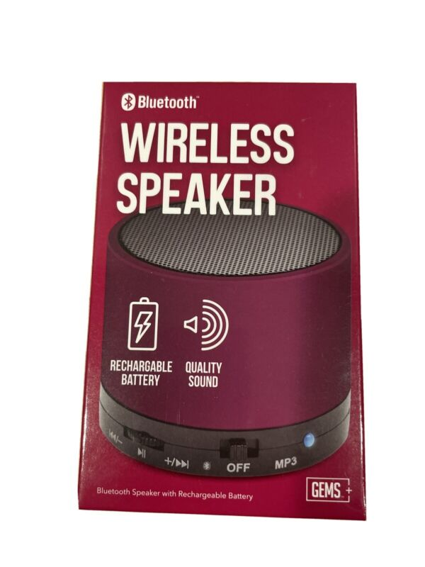 GEMS - Bluetooth Wireless Speaker (Purple) [Brand New]