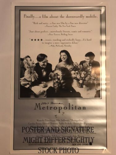 Whit Stillman signed Original Metropolitan Poster From Westerly Archive 1 sheet