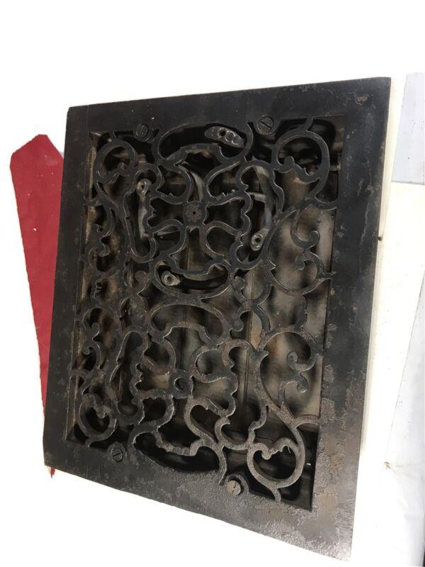 Vintage Scarce cast iron Victorian home floor heat vent grate register ornate