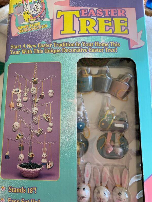 """Vintage Trendmasters Easter Tree w/ Ornaments Spatters & Sprinkles 18"""""""