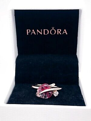 NEW Authentic PANDORA Rose 14k Gold Pink Murano Glass Leaf CZ Ring -