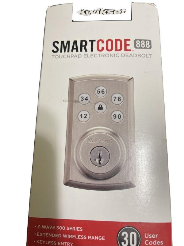 New Kwikset SmartCode 888 Touchpad Electronic Deadbolt Satin Nickel