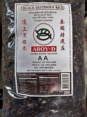 Thai Best Black Sweet Rice 5 (LB) Bag! 100% Thailand  (Free Ship) Nep Den