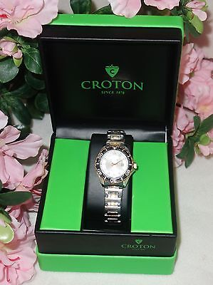 Croton Aquamatic Stainless Steel gold Bracelet WHITE Dial Watch CA201228 (Croton Womens White Dial)