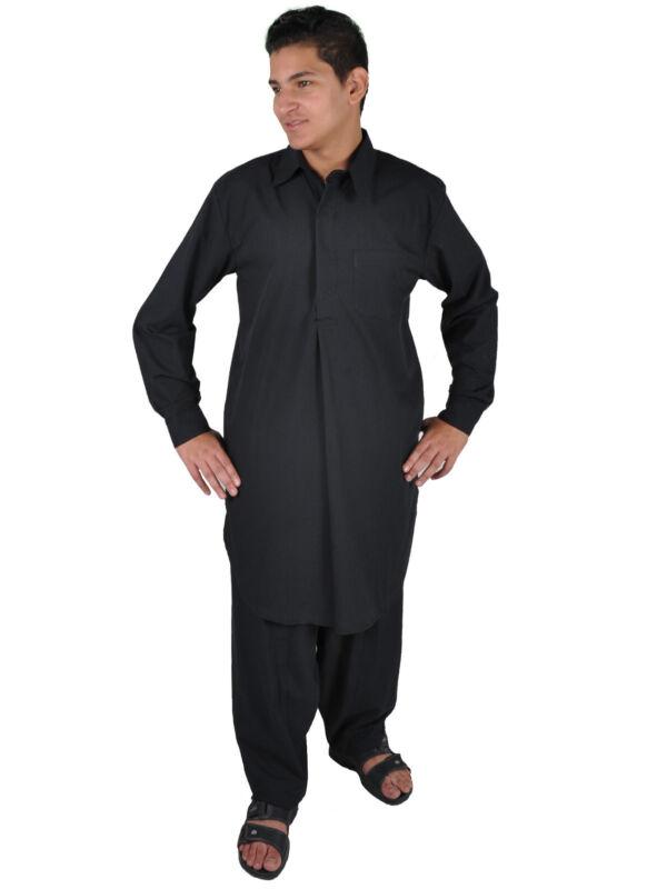 Zweiteiliges Salwar-Kameez-Set Hose Tunika im Pakistani-Stil schwarz - KAM00663