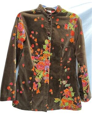 Vintage Oilily Floral BOHO Brown Brushed Velour Feel Jacket Size 36 Med.