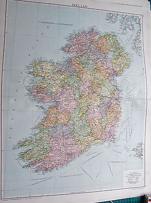 1919 LARGE ANTIQUE MAP-IRELAND