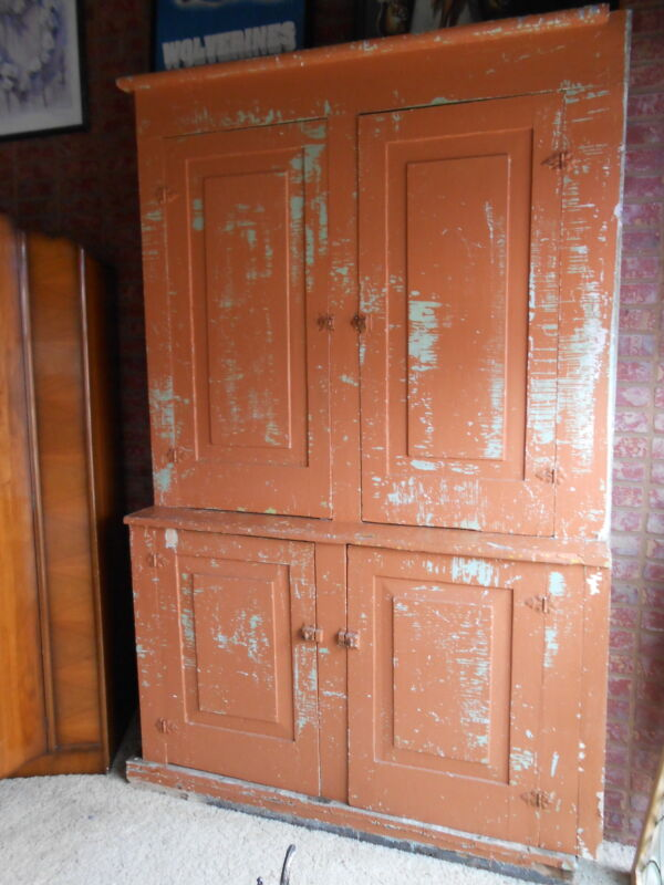 Primitive Greek Revival Step Back Cupboard Shabby Chic Peeling Paint Nice