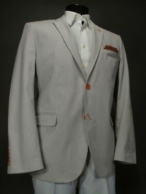 New BOGOSSE Blazer Sport Coat 54 Eu 43 44 US, Slim Fit, Twill Cotton Light Gray