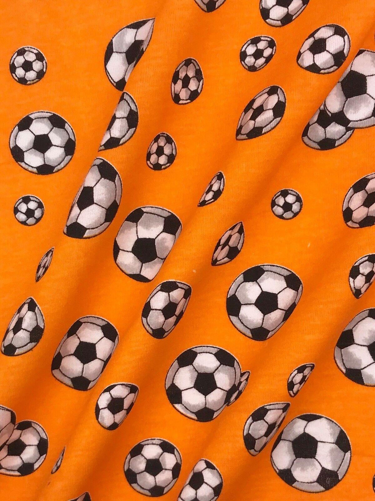 Jersey Interlock Kinderstoff Fußball orange Breite 155 cm ab 50cm