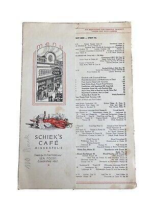 Rare Vintage 1935 Famous Shiek's Cafe Menu (Minneapolis - St Paul, MN)