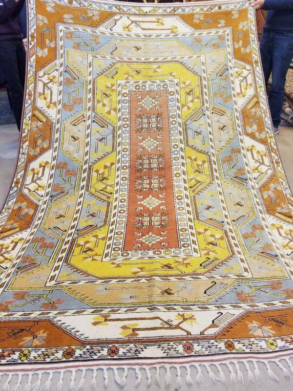 Exquisite Antique 1930-1940s  Wool Pile 7x10ft Vegy Muted Dyes  Oushak Rug