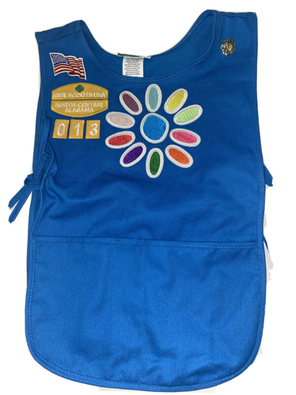 Girl Scout Daisy Vest / smock /tunic  Patches , Pin blue pockets