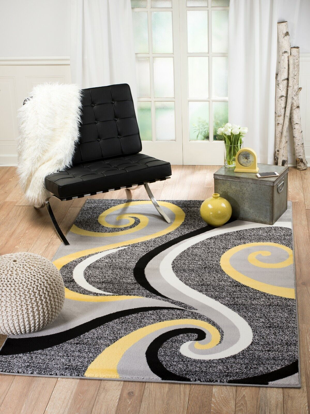 Area rug Smt#39 Modern yellow gray soft pile size options 2x