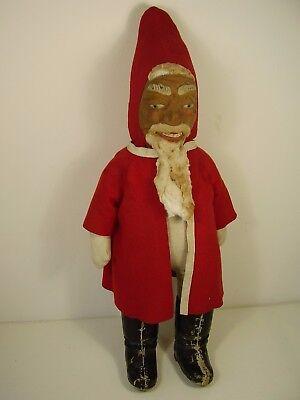 Antiker großer seltener Weihnachtsmann Pappe / Holzwolle / Filz ..... vor 1945