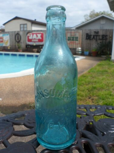 Consumers S&M W. MFG. CO LTD, New Orleans LA~Pre-Pro Embossed Blue Glass Bottle
