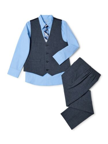 Wonder Nation Boys Suit Set with vest, Button-Up Shirt, tie & Pants 4-Piece set