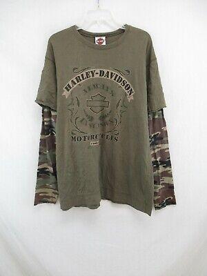 Harley Davidson Men's Camo Double Sleeve T-Shirt Size 2XL #R731