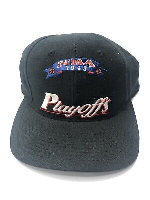 VTG 90s 1998 NBA Playoffs Blank Snapback Hat Cap Black New with Tags Deadstock