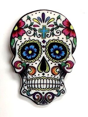 DAY OF THE DEAD SKULL PIN plastic Halloween brooch gift idea 1.75