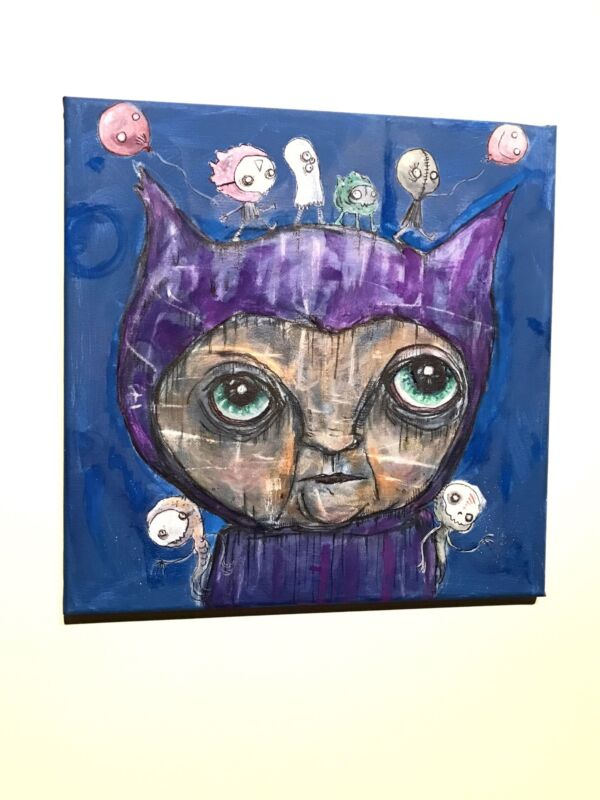 Gus Fink Original Art Painting Acrylic Lowbrow Surreal Abstract Creature Queen