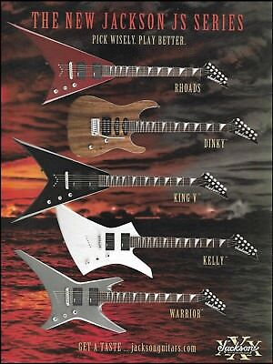 Jackson JS Series Randy Rhoads Dinky King V Kelly Warrior guitar 8 x 11 ad print for sale  Shipping to Canada