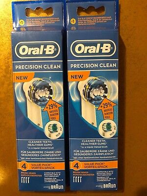 8 BRAUN ORAL B PRECISION CLEAN TOOTHBRUSH REPLACEMENT BRUSH HEADS REFILL EB20-4