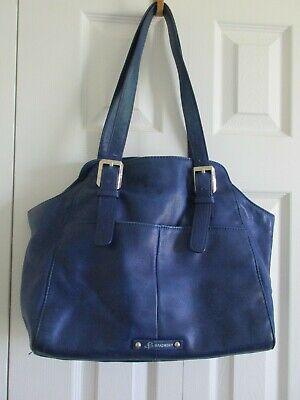 B. Makowsky Blue Pebbled Leather Shoulder Purse/Handbag Pre-Owned