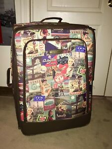 """Luggage / Suitcase 28.5"""" tall 2 wheel roller retro look. A1"""