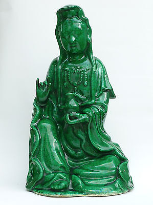 Antique Chinese 19th Century LARGE Green Crackle Glazed Guanyin Seated Figure