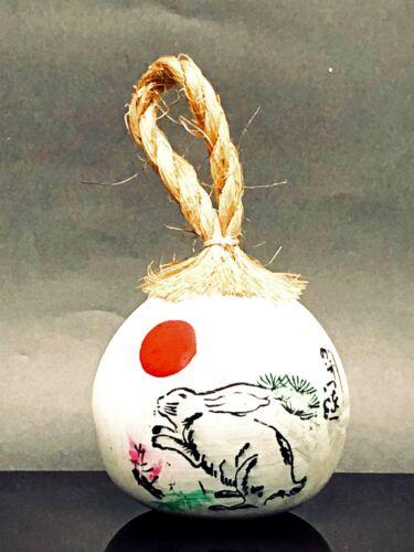 Japanese Clay Bell Dorei Ceramic Pottery Round Shrine Lucky Charm Zodiac Rabbit
