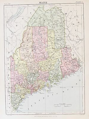 OLD ANTIQUE MAP MAINE UNITED STATES c1880's by W & A K JOHNSTON USA
