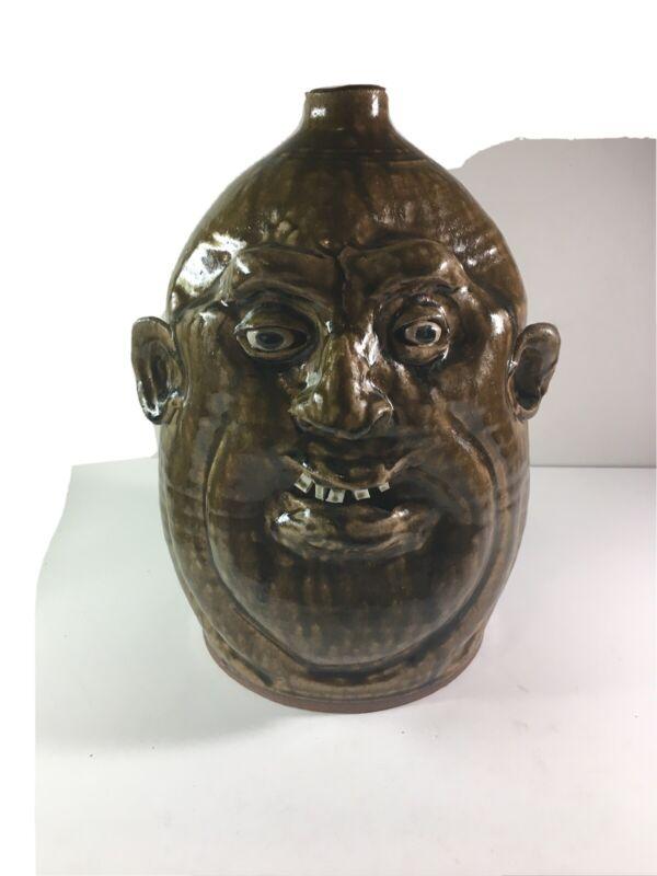 """Marvin Bailey Face Jug Brown pottery Folk Art 11"""" tall x 8"""
