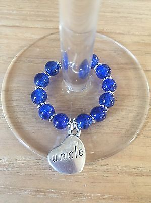 Handmade Uncle Wine Glass Charm, Stocking Filler, Present
