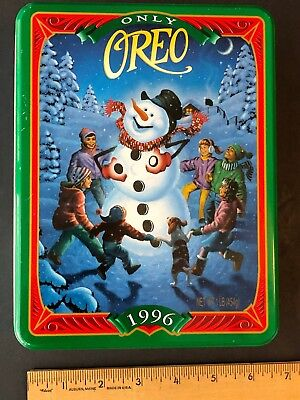 Oreo Cookie Snowman Christmas Collectible Tin From Nabisco Vintage 1996 Nice EC