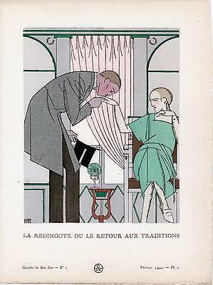 Bon Ton    Monvel  1920 Pochoir Art Deco Antique Fashion Hand Painted