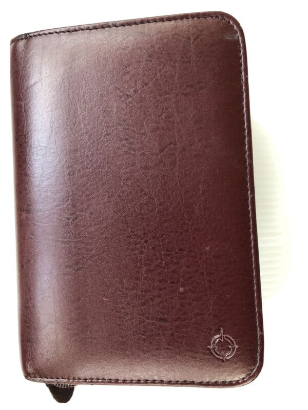 """FRANKLIN COVEY Burgundy Leather Calendar Binder Compact Size 6- 1"""" Rings"""