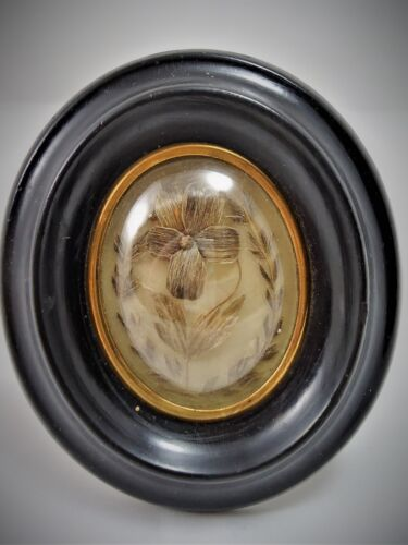 Antique French Rare  Hair Mourning  Art in Oval  Wood Frame 1880