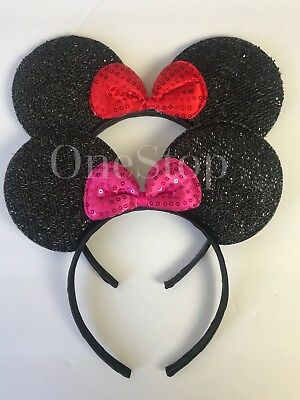 2-Minnie Mouse Red Pink Bow-Mickey Mouse Ears Headband Disney adult/kid costume