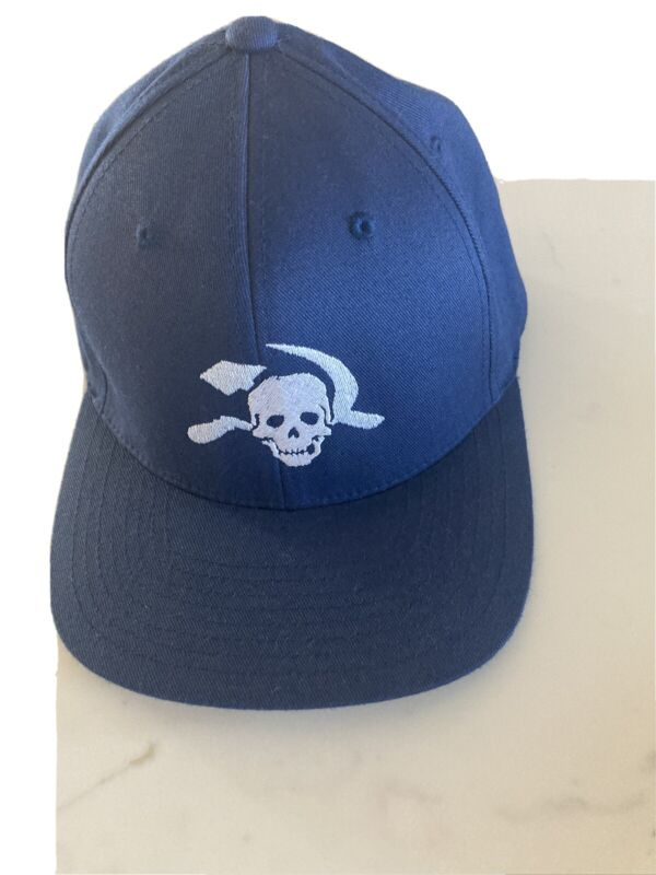 Steve Earle Skull/Sickle Tour Hat Navy Fitted S/M Great Condition FlexFit