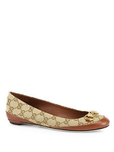 NIB-Gucci-Horsebit-Canvas-Signature-Brown-Ballet-Flats-Shoes-9-5-US-39-5-EU-530