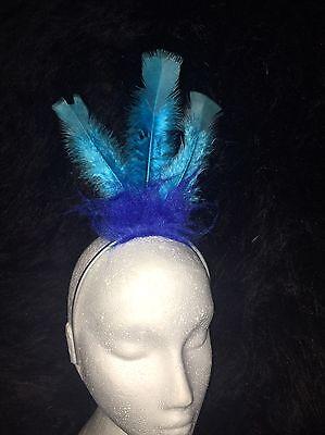 ROAD RUNNER BLUE BIRD Fancy Dress Headress Feather Hairband - Blue Bird Costume