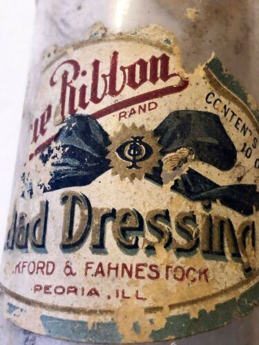 Blue Ribbon Salad Dressing Bottle Oakford and Fahnestock Peoria IL W Paper Label