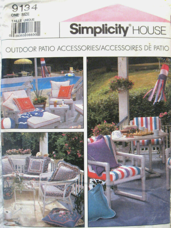 Simplicity 9134 OUTDOOR PATIO ACCESSORIES fabric sewing pattern 1989 Uncut
