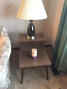 Two vintage end tables and lamps