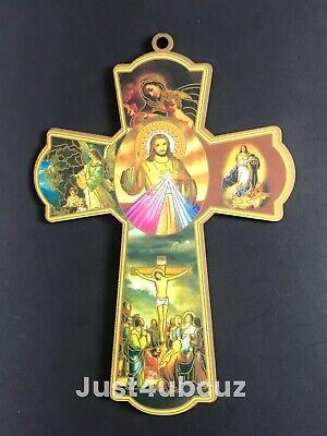 1PC Catholic Wood Cross Crucifix Wall 8'' Hanging Sacred Heart Jesus Mary Angel](Wood Cross)