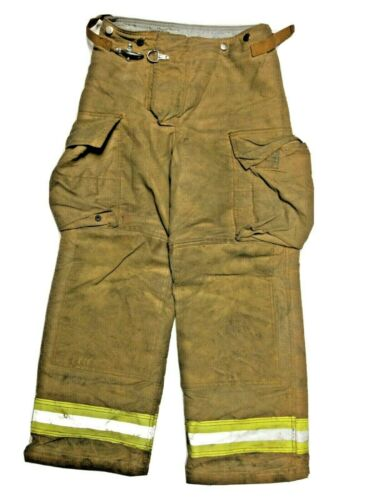 30x30 Securitex Brown Firefighter Turnout Bunker Pants with Yellow Stripe P1303
